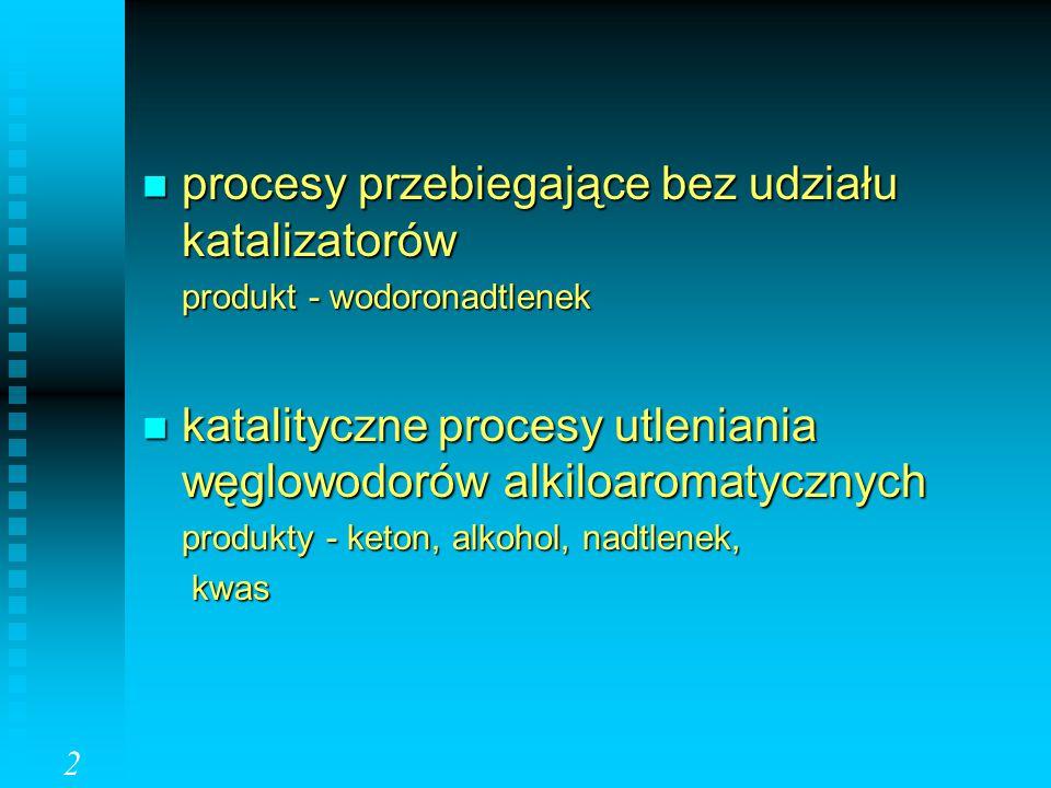 procesy przebiegające bez udziału katalizatorów procesy przebiegające bez udziału katalizatorów produkt - wodoronadtlenek katalityczne procesy utlenia