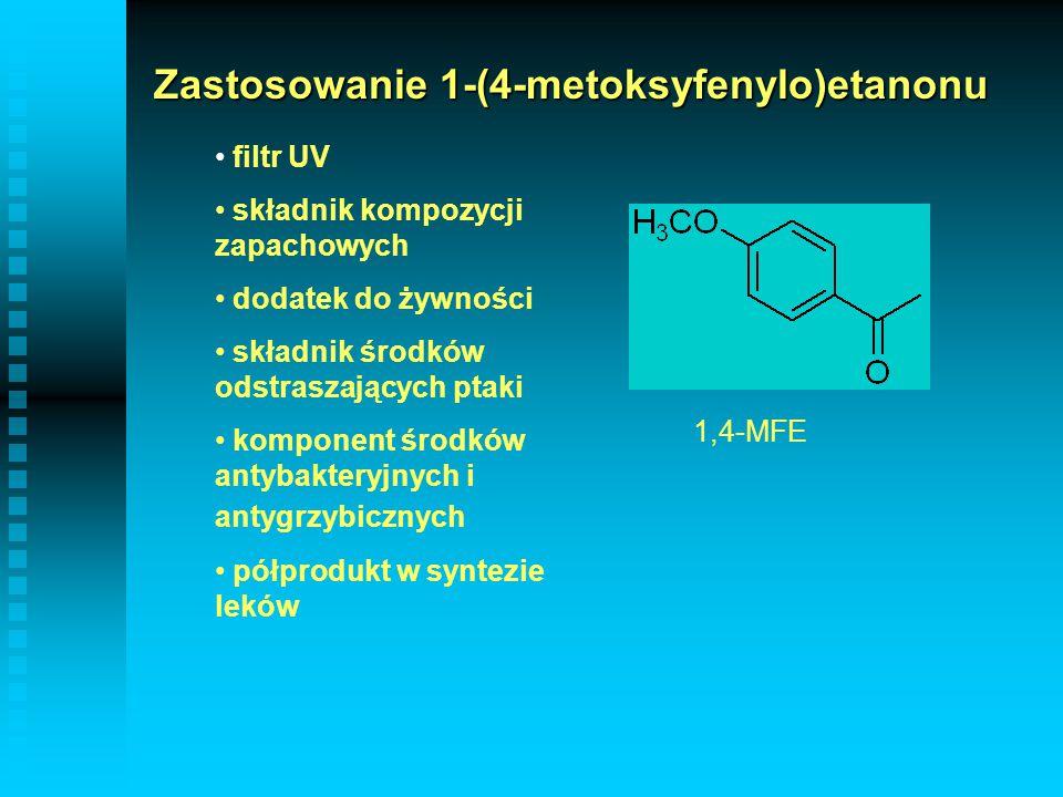 Zastosowanie 1-(4-metoksyfenylo)etanonu filtr UV składnik kompozycji zapachowych dodatek do żywności składnik środków odstraszających ptaki komponent
