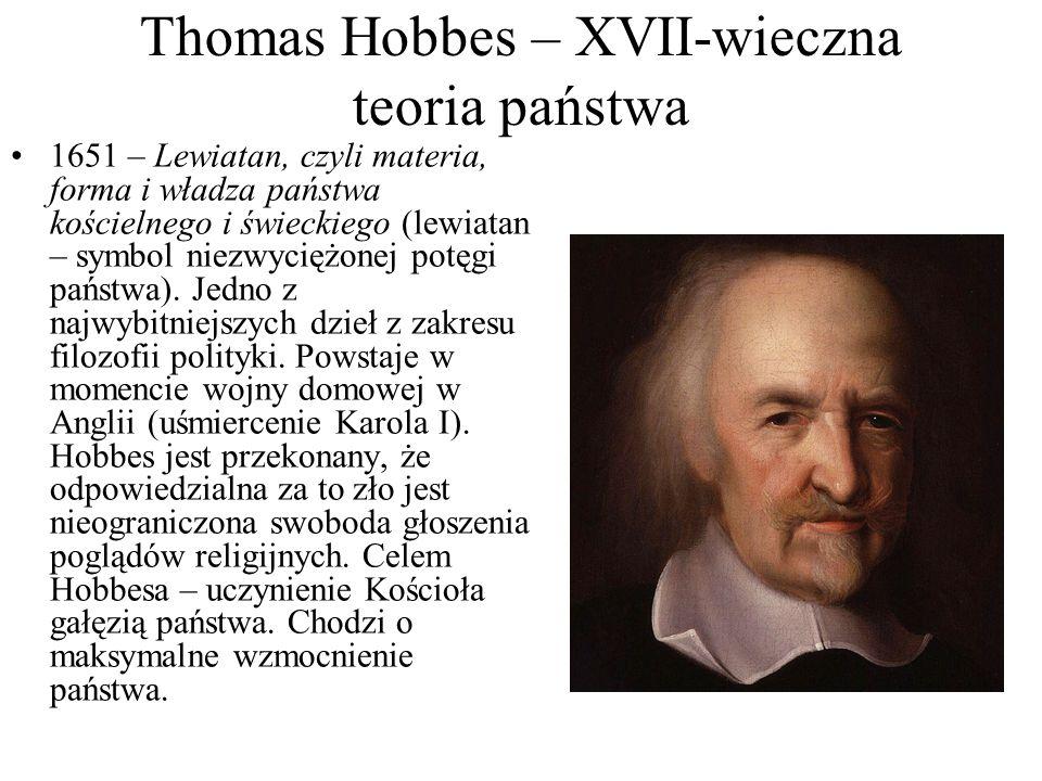 Thomas Hobbes – XVII-wieczna teoria państwa 1651 – Lewiatan, czyli materia, forma i władza państwa kościelnego i świeckiego (lewiatan – symbol niezwyc