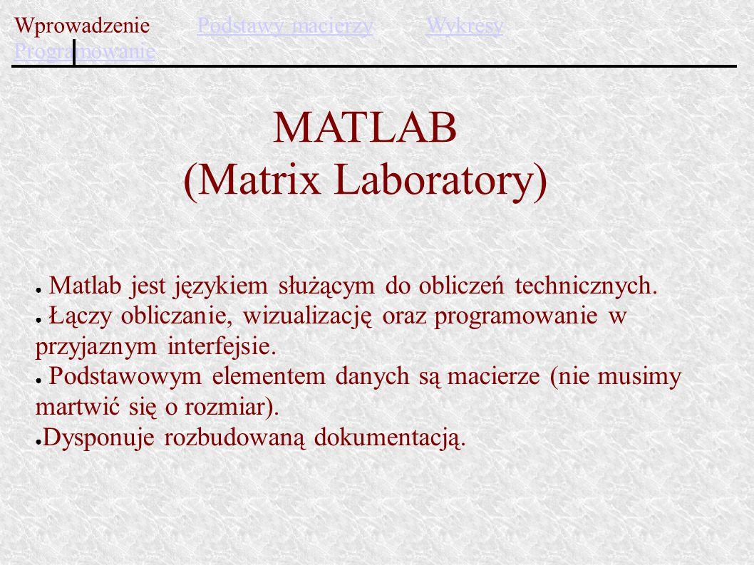 ● Matlab jest językiem służącym do obliczeń technicznych. ● Łączy obliczanie, wizualizację oraz programowanie w przyjaznym interfejsie. ● Podstawowym