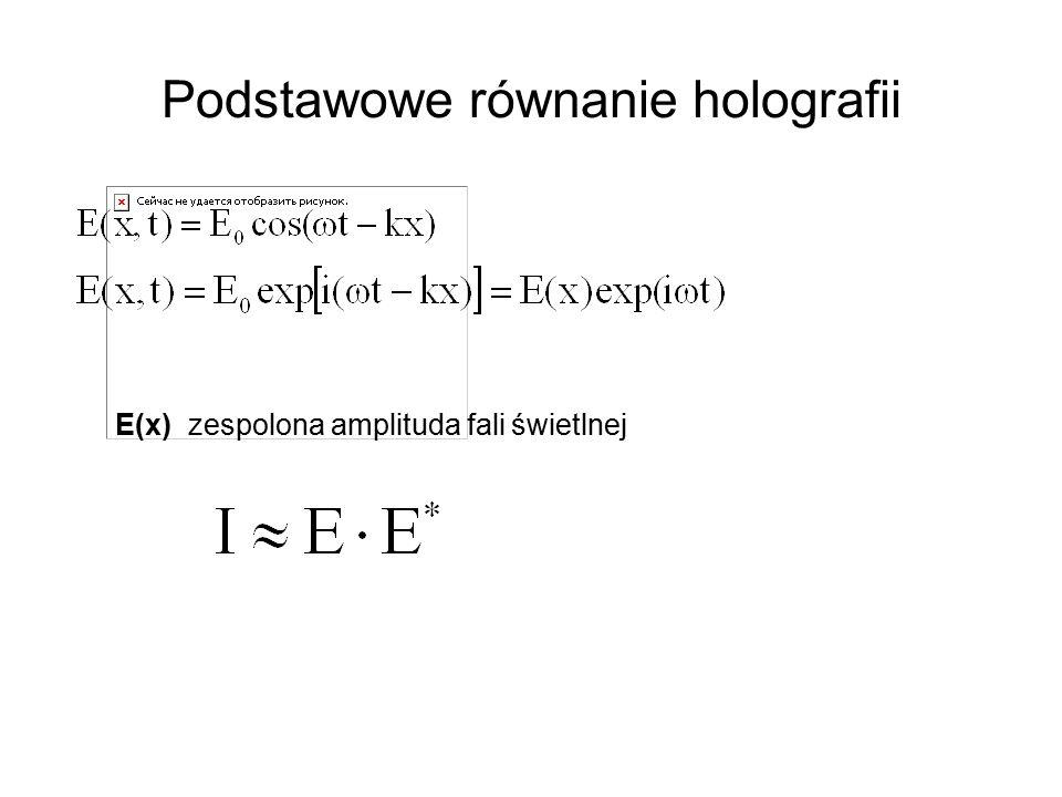 Podstawowe równanie holografii E(x) zespolona amplituda fali świetlnej