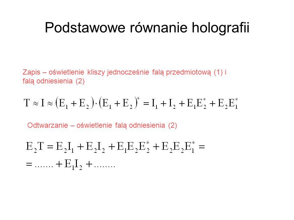 Podstawowe równanie holografii Odtwarzanie – oświetlenie falą odniesienia (2) Zapis – oświetlenie kliszy jednocześnie falą przedmiotową (1) i falą odniesienia (2)
