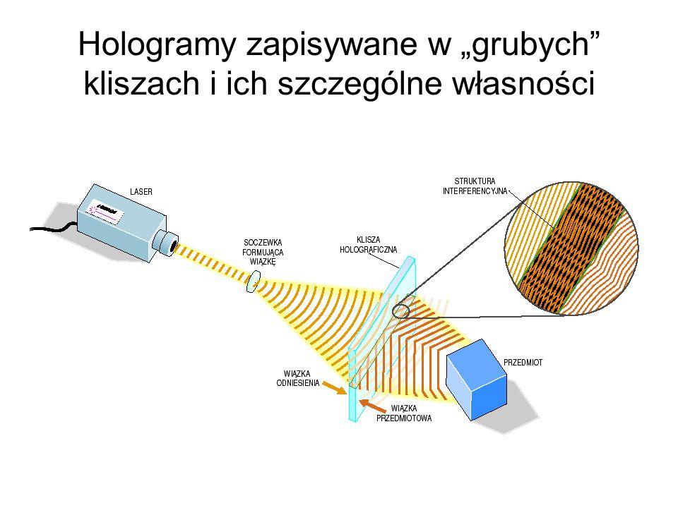 """Hologramy zapisywane w """"grubych kliszach i ich szczególne własności"""
