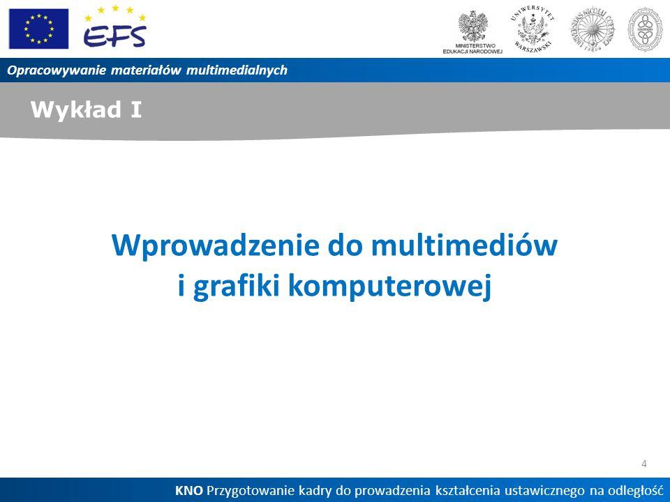 Wykład I 4 Opracowywanie materiałów multimedialnych KNO Przygotowanie kadry do prowadzenia kształcenia ustawicznego na odległość Wprowadzenie do multi