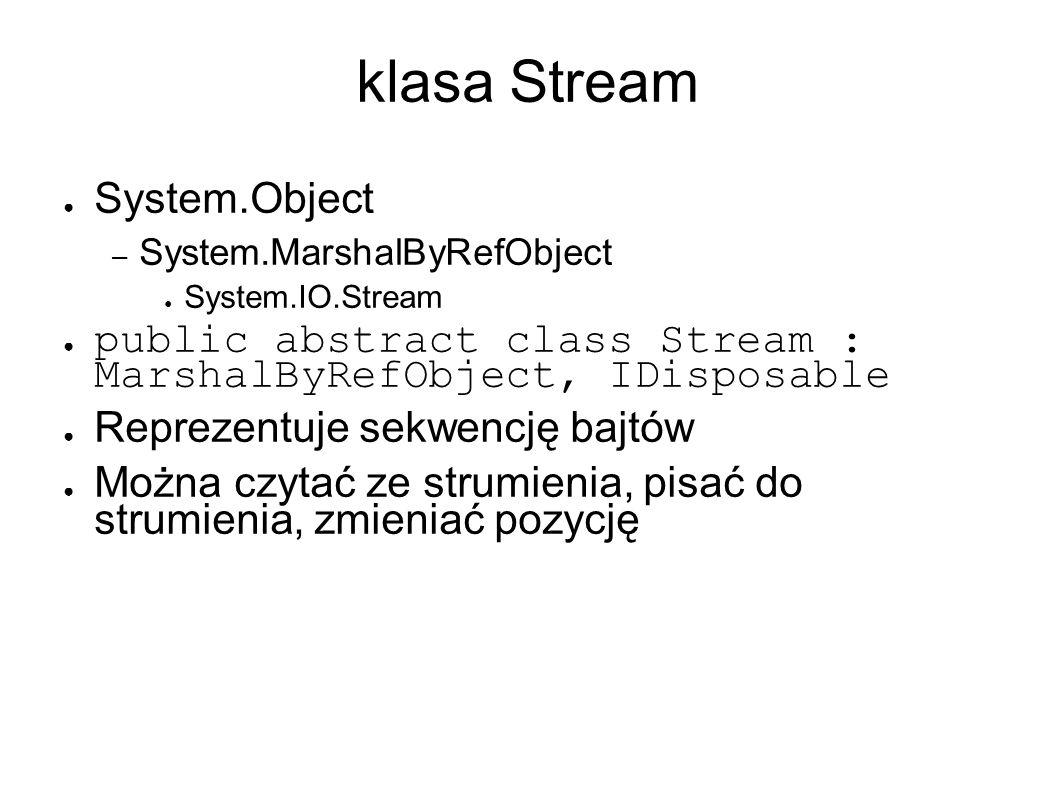 klasa Stream ● System.Object – System.MarshalByRefObject ● System.IO.Stream ● public abstract class Stream : MarshalByRefObject, IDisposable ● Reprezentuje sekwencję bajtów ● Można czytać ze strumienia, pisać do strumienia, zmieniać pozycję