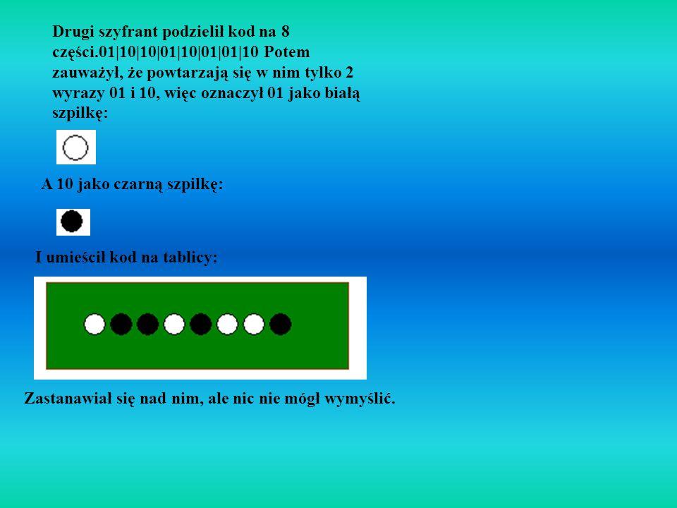 Trzeci szyfrant podzielił kod na 4 części.