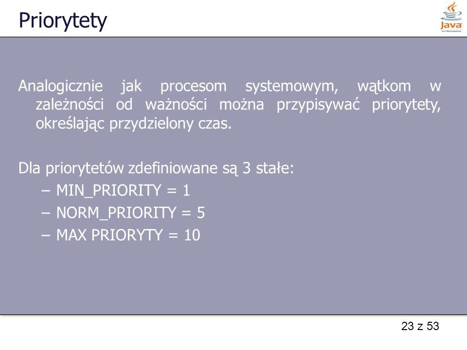 23 z 53 Priorytety Analogicznie jak procesom systemowym, wątkom w zależności od ważności można przypisywać priorytety, określając przydzielony czas.