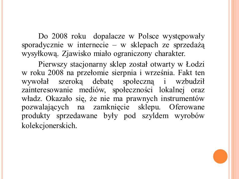 Do 2008 roku dopalacze w Polsce występowały sporadycznie w internecie – w sklepach ze sprzedażą wysyłkową. Zjawisko miało ograniczony charakter. Pierw