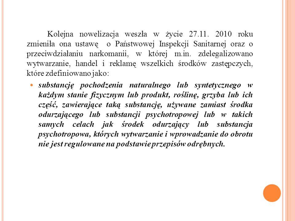 Kolejna nowelizacja weszła w życie 27.11. 2010 roku zmieniła ona ustawę o Państwowej Inspekcji Sanitarnej oraz o przeciwdziałaniu narkomanii, w której