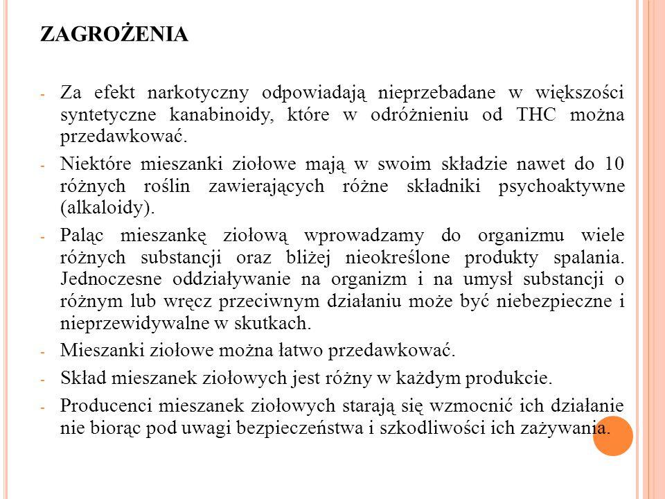 ZAGROŻENIA - Za efekt narkotyczny odpowiadają nieprzebadane w większości syntetyczne kanabinoidy, które w odróżnieniu od THC można przedawkować. - Nie