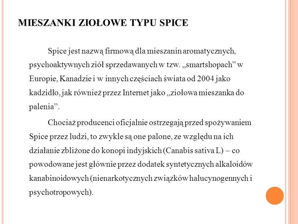 """MIESZANKI ZIOŁOWE TYPU SPICE Spice jest nazwą firmową dla mieszanin aromatycznych, psychoaktywnych ziół sprzedawanych w tzw. """"smartshopach"""" w Europie,"""
