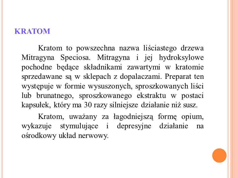 KRATOM Kratom to powszechna nazwa liściastego drzewa Mitragyna Speciosa. Mitragyna i jej hydroksylowe pochodne będące składnikami zawartymi w kratomie