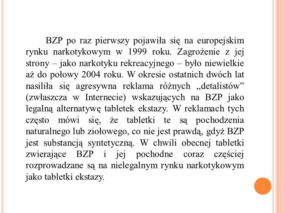BZP po raz pierwszy pojawiła się na europejskim rynku narkotykowym w 1999 roku. Zagrożenie z jej strony – jako narkotyku rekreacyjnego – było niewielk