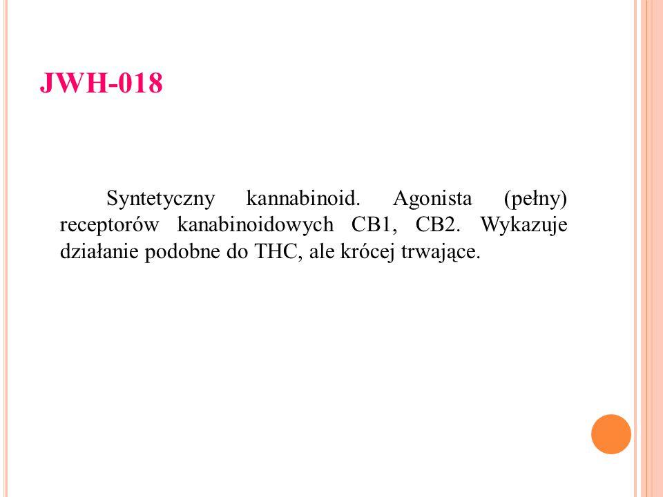 JWH-018 Syntetyczny kannabinoid. Agonista (pełny) receptorów kanabinoidowych CB1, CB2. Wykazuje działanie podobne do THC, ale krócej trwające.