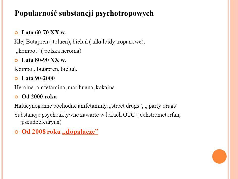 "Lata 60-70 XX w. Klej Butapren ( toluen), bieluń ( alkaloidy tropanowe), ""kompot"" ( polska heroina). Lata 80-90 XX w. Kompot, butapren, bieluń. Lata 9"