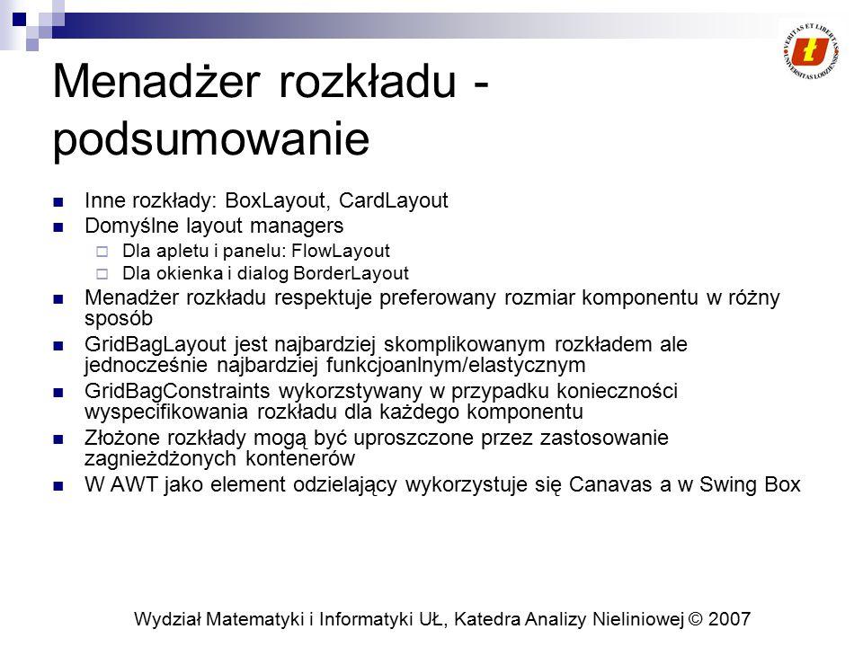 Wydział Matematyki i Informatyki UŁ, Katedra Analizy Nieliniowej © 2007 Menadżer rozkładu - podsumowanie Inne rozkłady: BoxLayout, CardLayout Domyślne