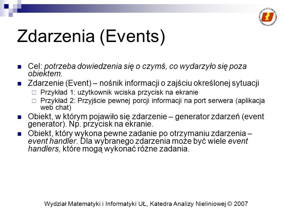 Wydział Matematyki i Informatyki UŁ, Katedra Analizy Nieliniowej © 2007 Zdarzenia (Events) Cel: potrzeba dowiedzenia się o czymś, co wydarzyło się poz