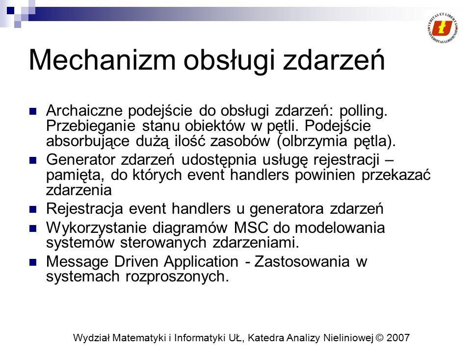 Wydział Matematyki i Informatyki UŁ, Katedra Analizy Nieliniowej © 2007 Mechanizm obsługi zdarzeń Archaiczne podejście do obsługi zdarzeń: polling. Pr