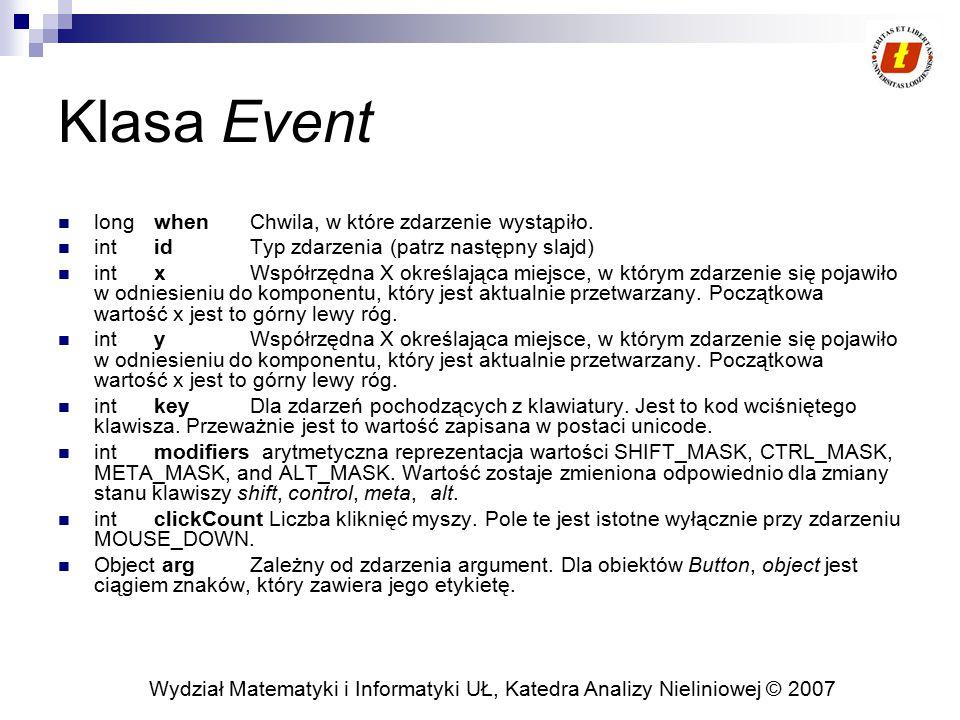 Wydział Matematyki i Informatyki UŁ, Katedra Analizy Nieliniowej © 2007 Klasa Event long when Chwila, w które zdarzenie wystąpiło. int id Typ zdarzeni