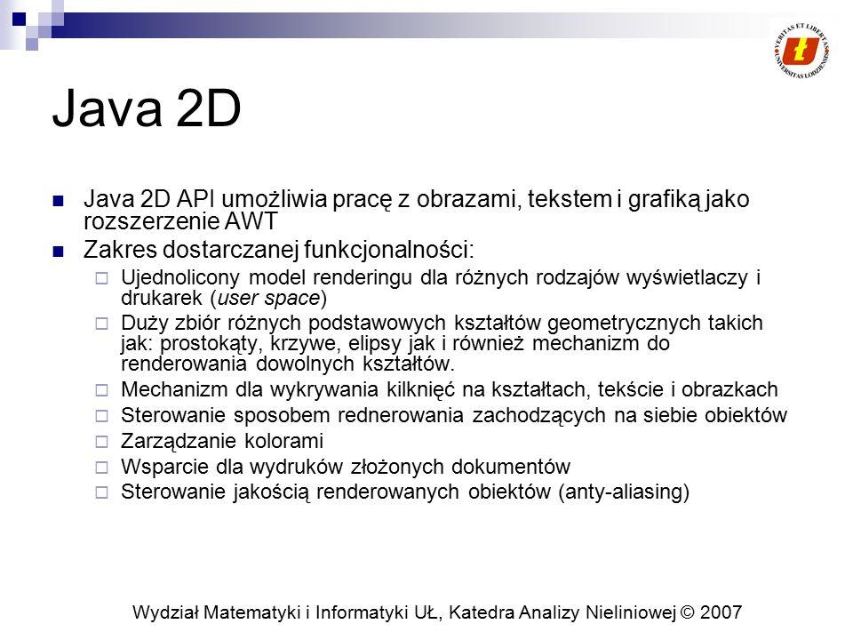 Wydział Matematyki i Informatyki UŁ, Katedra Analizy Nieliniowej © 2007 Java 2D Java 2D API umożliwia pracę z obrazami, tekstem i grafiką jako rozszer