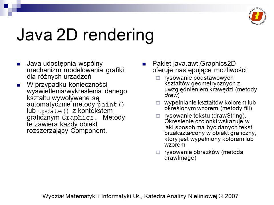 Wydział Matematyki i Informatyki UŁ, Katedra Analizy Nieliniowej © 2007 Java 2D rendering Java udostępnia wspólny mechanizm modelowania grafiki dla ró