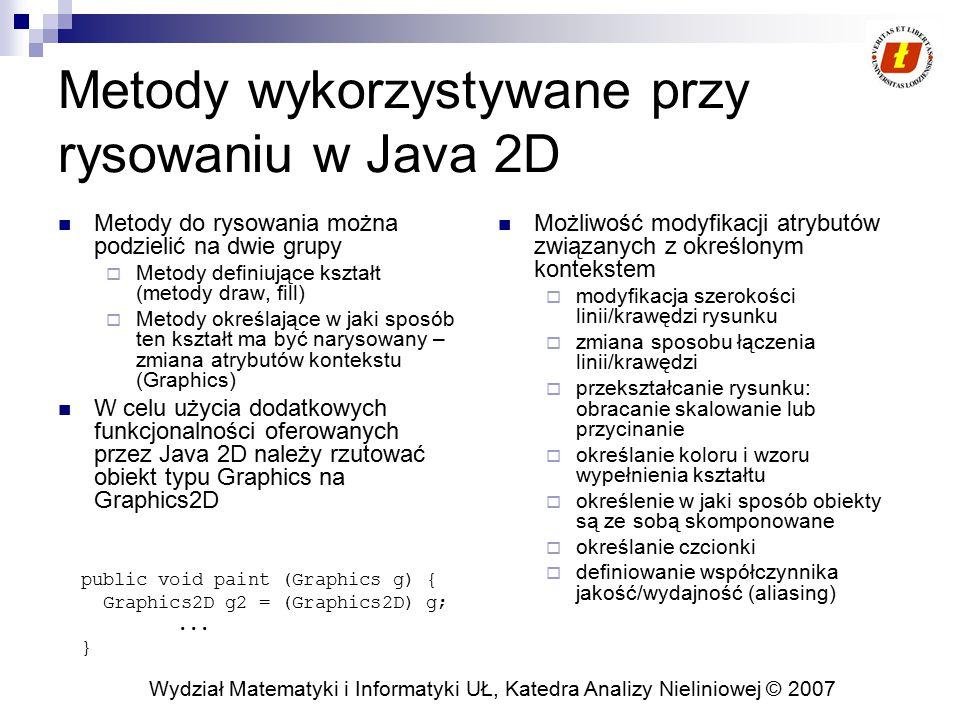 Wydział Matematyki i Informatyki UŁ, Katedra Analizy Nieliniowej © 2007 Metody wykorzystywane przy rysowaniu w Java 2D Metody do rysowania można podzi