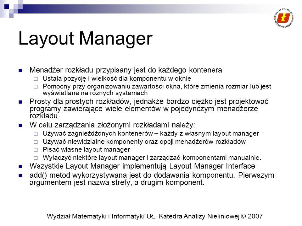 Wydział Matematyki i Informatyki UŁ, Katedra Analizy Nieliniowej © 2007 Layout Manager Menadżer rozkładu przypisany jest do każdego kontenera  Ustala
