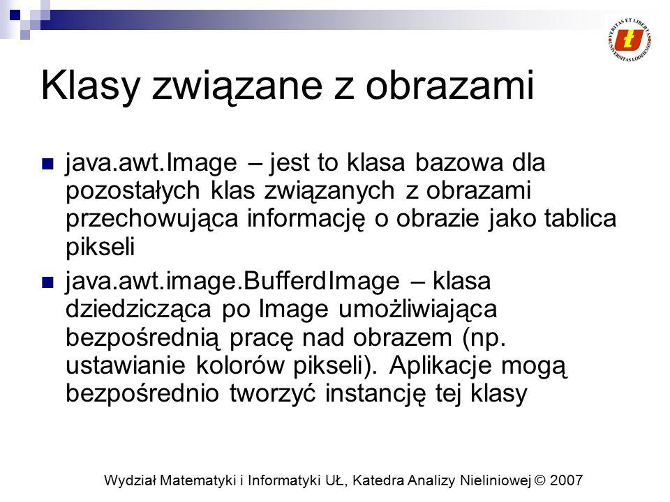 Wydział Matematyki i Informatyki UŁ, Katedra Analizy Nieliniowej © 2007 Klasy związane z obrazami java.awt.Image – jest to klasa bazowa dla pozostałyc