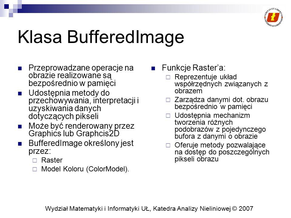 Wydział Matematyki i Informatyki UŁ, Katedra Analizy Nieliniowej © 2007 Klasa BufferedImage Przeprowadzane operacje na obrazie realizowane są bezpośre