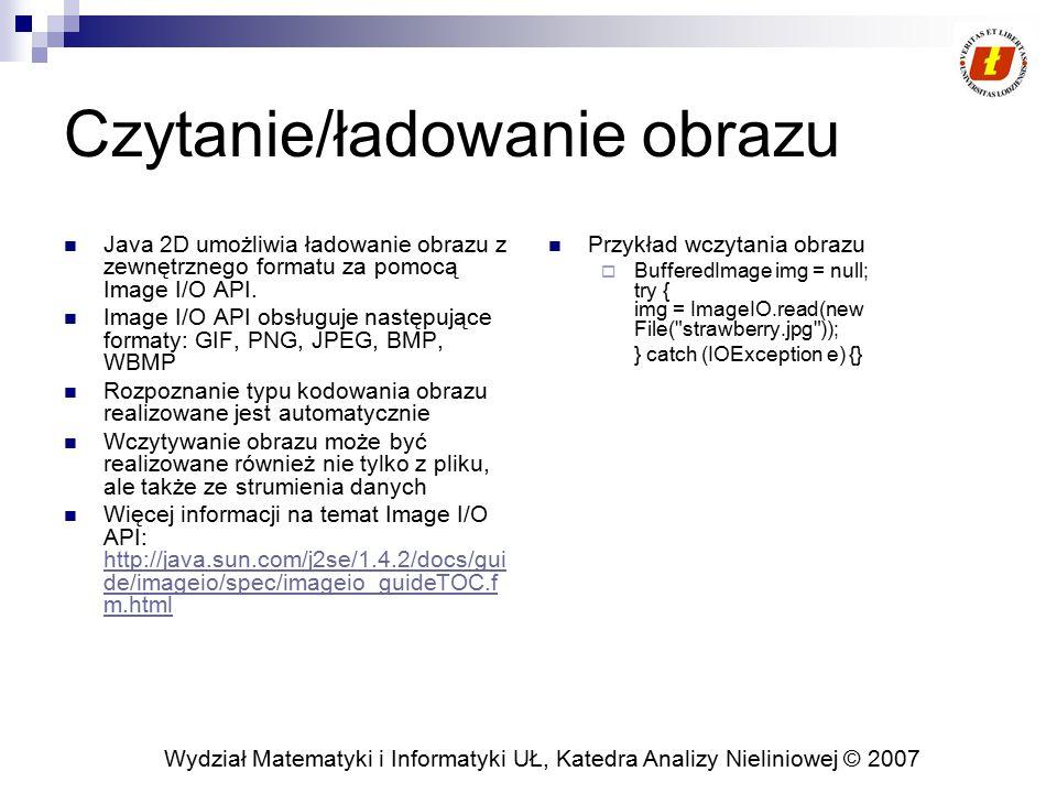 Wydział Matematyki i Informatyki UŁ, Katedra Analizy Nieliniowej © 2007 Czytanie/ładowanie obrazu Java 2D umożliwia ładowanie obrazu z zewnętrznego fo