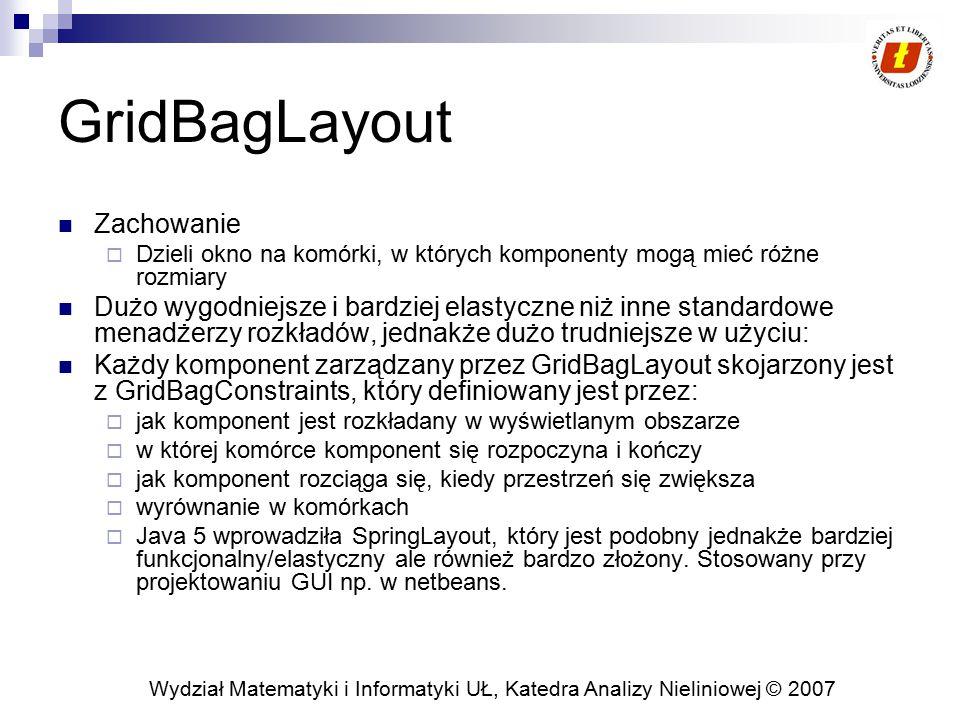 Wydział Matematyki i Informatyki UŁ, Katedra Analizy Nieliniowej © 2007 GridBagLayout Zachowanie  Dzieli okno na komórki, w których komponenty mogą m