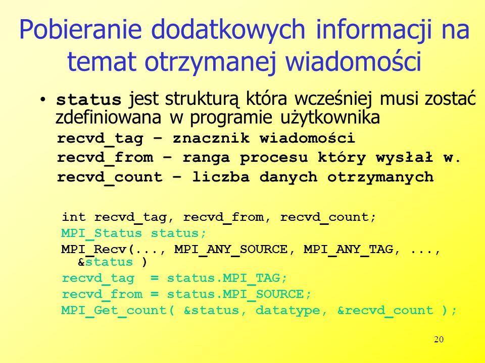 20 Pobieranie dodatkowych informacji na temat otrzymanej wiadomości status jest strukturą która wcześniej musi zostać zdefiniowana w programie użytkownika recvd_tag – znacznik wiadomości recvd_from – ranga procesu który wysłał w.