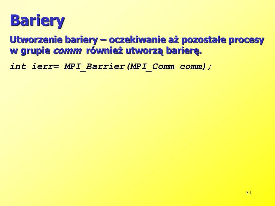 31 Bariery Utworzenie bariery – oczekiwanie aż pozostałe procesy w grupie comm również utworzą barierę.