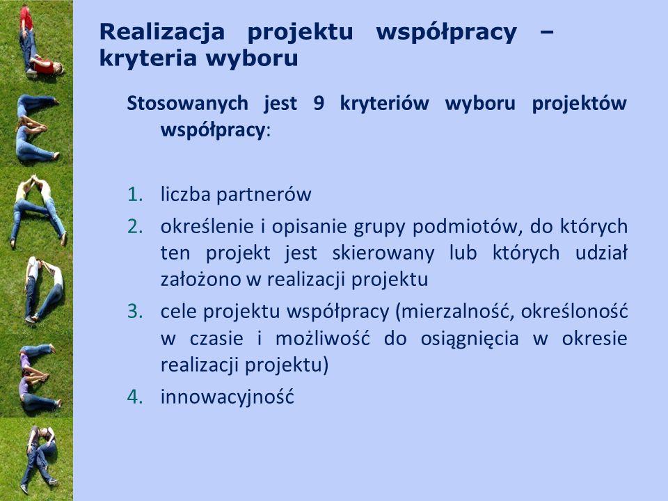 Realizacja projektu współpracy – kryteria wyboru Stosowanych jest 9 kryteriów wyboru projektów współpracy: 1.liczba partnerów 2.określenie i opisanie grupy podmiotów, do których ten projekt jest skierowany lub których udział założono w realizacji projektu 3.cele projektu współpracy (mierzalność, określoność w czasie i możliwość do osiągnięcia w okresie realizacji projektu) 4.innowacyjność