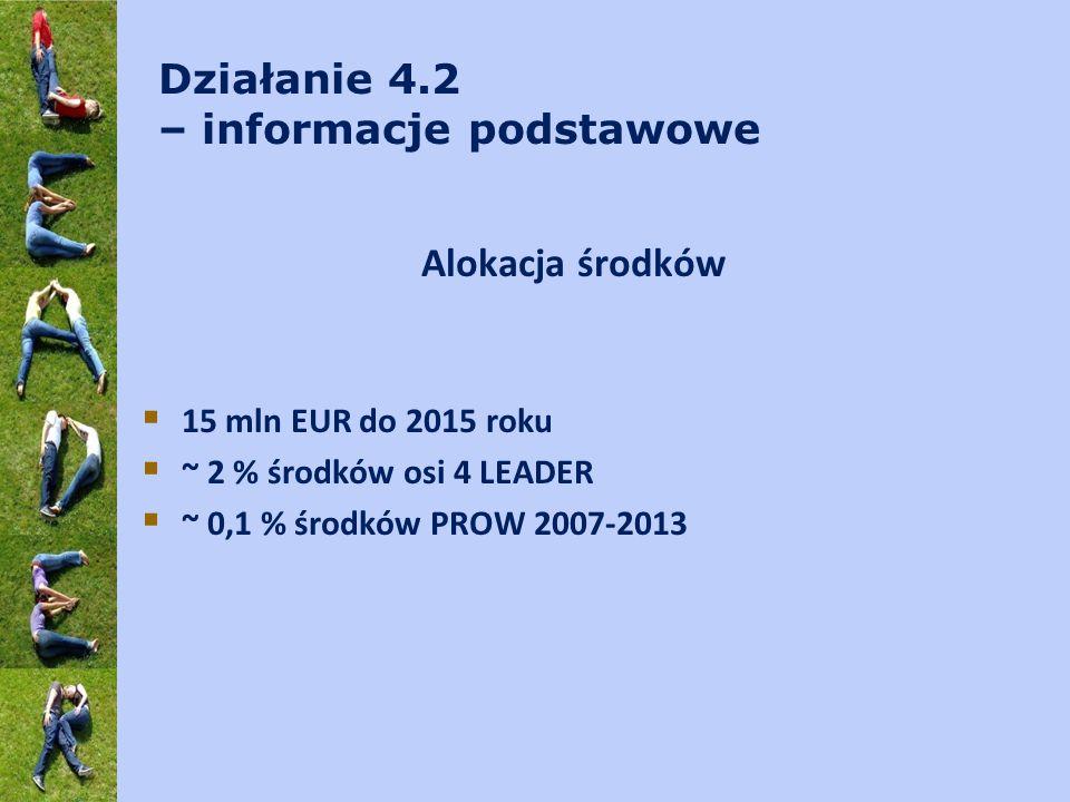 Działanie 4.2 – informacje podstawowe Alokacja środków  15 mln EUR do 2015 roku  ~ 2 % środków osi 4 LEADER  ~ 0,1 % środków PROW 2007-2013
