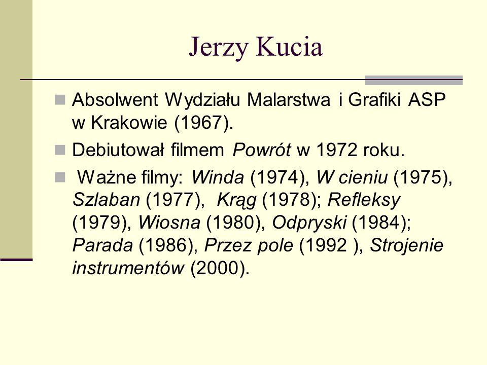 Jerzy Kucia Absolwent Wydziału Malarstwa i Grafiki ASP w Krakowie (1967). Debiutował filmem Powrót w 1972 roku. Ważne filmy: Winda (1974), W cieniu (1