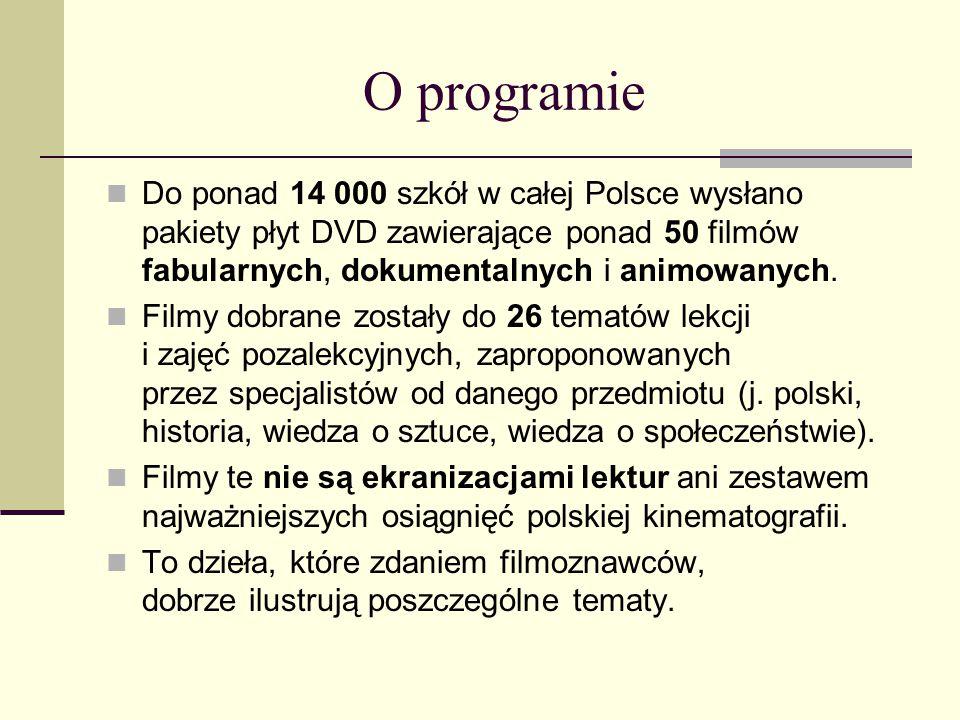 O programie Do ponad 14 000 szkół w całej Polsce wysłano pakiety płyt DVD zawierające ponad 50 filmów fabularnych, dokumentalnych i animowanych. Filmy