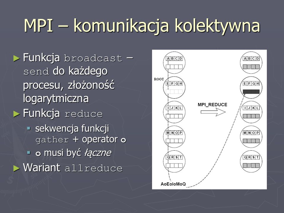 MPI – komunikacja kolektywna ► Funkcja broadcast – send do każdego procesu, złożoność logarytmiczna ► Funkcja reduce  sekwencja funkcji gather + operator o  o musi być łączne ► Wariant allreduce