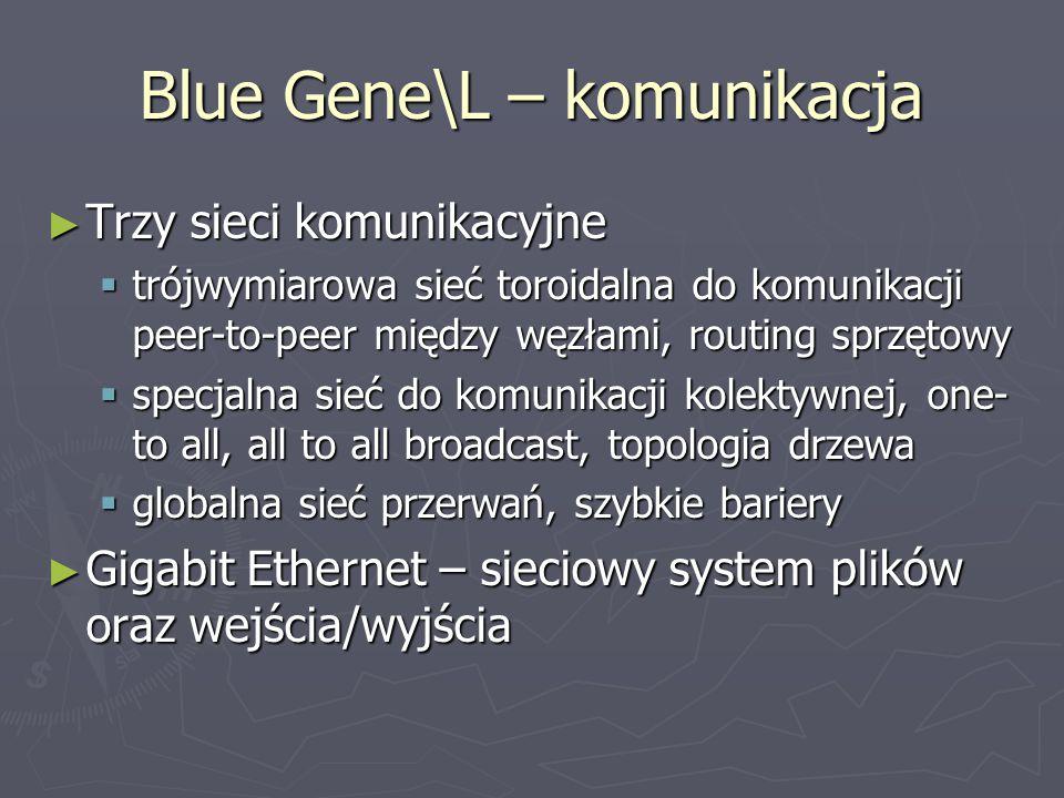 Blue Gene\L – komunikacja ► Trzy sieci komunikacyjne  trójwymiarowa sieć toroidalna do komunikacji peer-to-peer między węzłami, routing sprzętowy  specjalna sieć do komunikacji kolektywnej, one- to all, all to all broadcast, topologia drzewa  globalna sieć przerwań, szybkie bariery ► Gigabit Ethernet – sieciowy system plików oraz wejścia/wyjścia