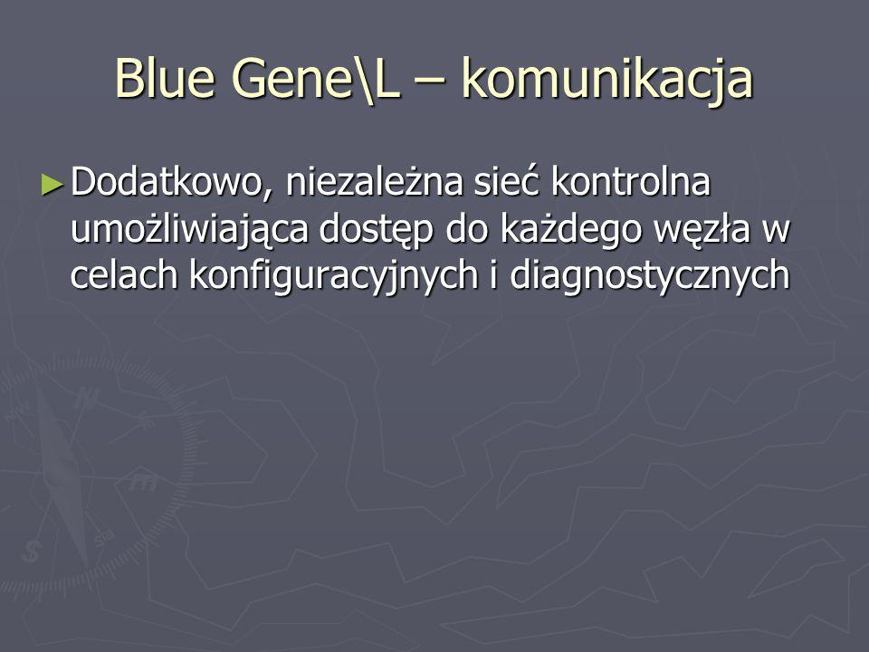 Blue Gene\L – komunikacja ► Dodatkowo, niezależna sieć kontrolna umożliwiająca dostęp do każdego węzła w celach konfiguracyjnych i diagnostycznych