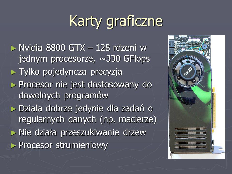 Karty graficzne ► Nvidia 8800 GTX – 128 rdzeni w jednym procesorze, ~330 GFlops ► Tylko pojedyncza precyzja ► Procesor nie jest dostosowany do dowolnych programów ► Działa dobrze jedynie dla zadań o regularnych danych (np.
