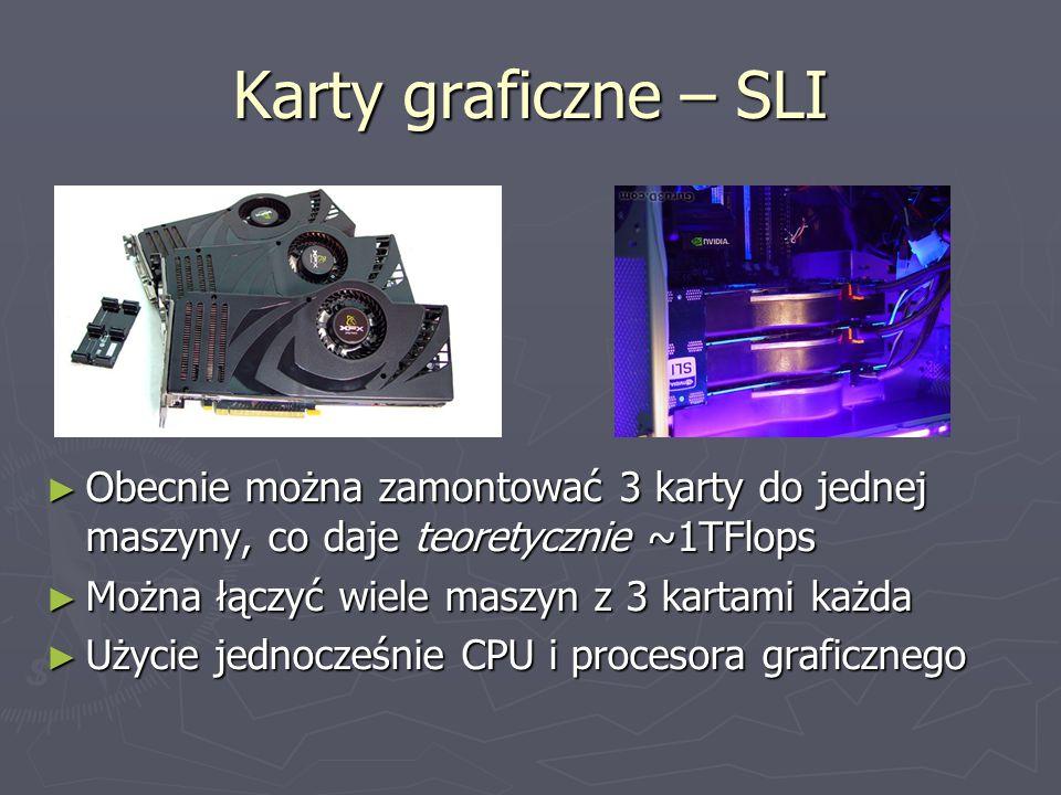 Karty graficzne – SLI ► Obecnie można zamontować 3 karty do jednej maszyny, co daje teoretycznie ~1TFlops ► Można łączyć wiele maszyn z 3 kartami każda ► Użycie jednocześnie CPU i procesora graficznego