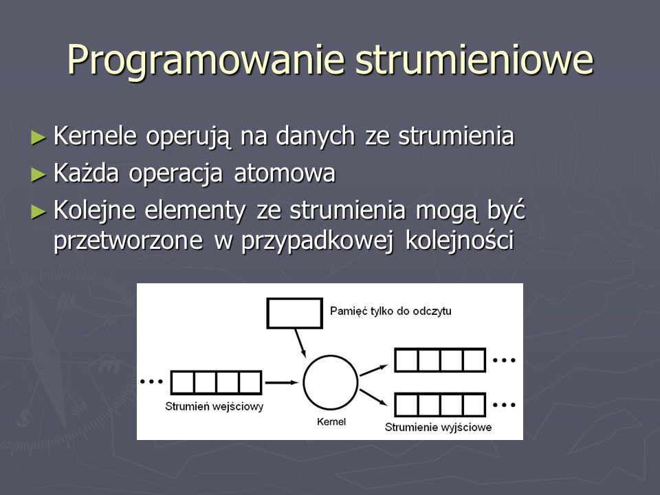 Programowanie strumieniowe ► Kernele operują na danych ze strumienia ► Każda operacja atomowa ► Kolejne elementy ze strumienia mogą być przetworzone w przypadkowej kolejności