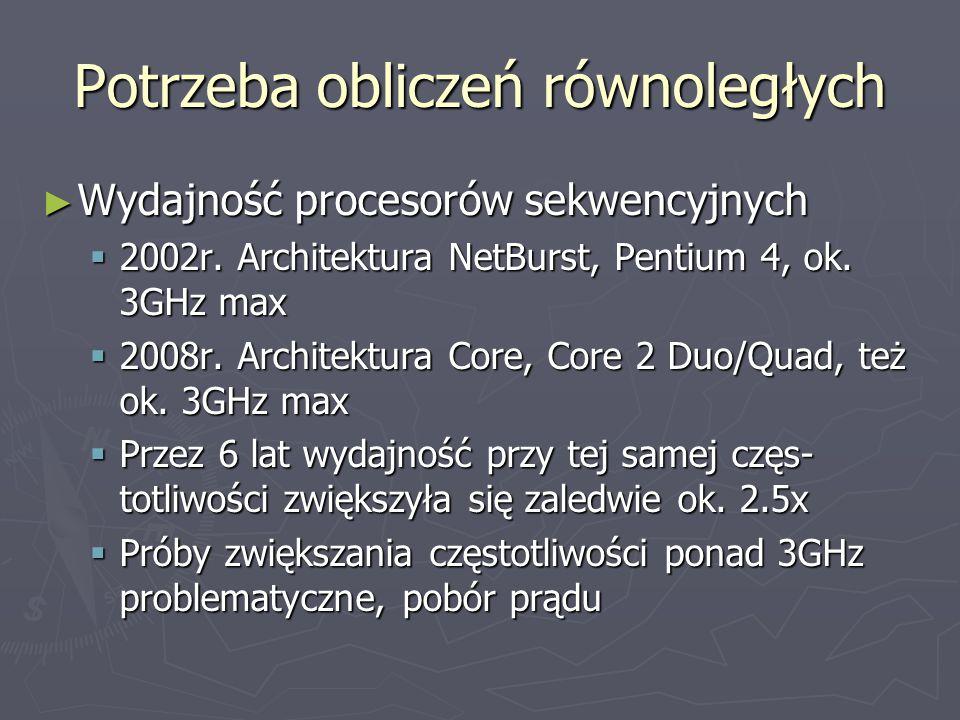 Potrzeba obliczeń równoległych ► Wydajność procesorów sekwencyjnych  2002r.