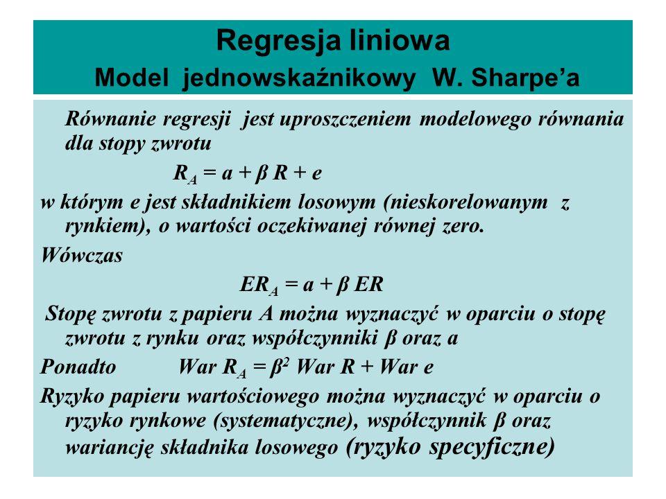Regresja liniowa Model jednowskaźnikowy W. Sharpe'a Równanie regresji jest uproszczeniem modelowego równania dla stopy zwrotu R A = a + β R + e w któr