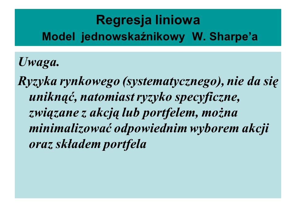Regresja liniowa Model jednowskaźnikowy W. Sharpe'a Uwaga. Ryzyka rynkowego (systematycznego), nie da się uniknąć, natomiast ryzyko specyficzne, związ