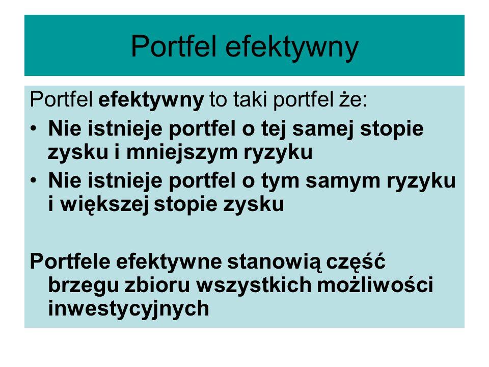 Portfel efektywny Portfel efektywny to taki portfel że: Nie istnieje portfel o tej samej stopie zysku i mniejszym ryzyku Nie istnieje portfel o tym sa