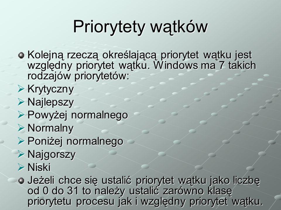 Priorytety wątków Kolejną rzeczą określającą priorytet wątku jest względny priorytet wątku. Windows ma 7 takich rodzajów priorytetów:  Krytyczny  Na