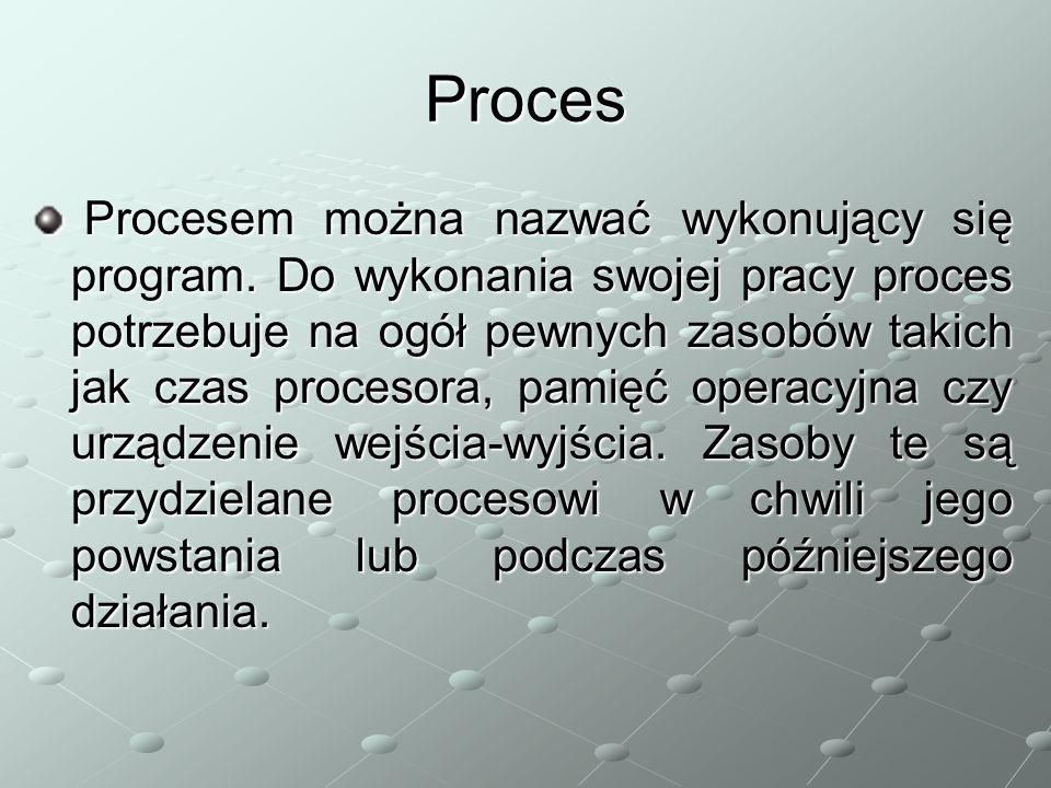 Proces Procesem można nazwać wykonujący się program. Do wykonania swojej pracy proces potrzebuje na ogół pewnych zasobów takich jak czas procesora, pa