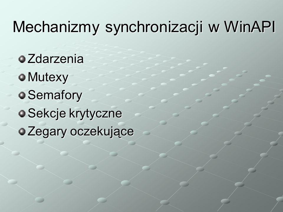 Mechanizmy synchronizacji w WinAPI ZdarzeniaMutexySemafory Sekcje krytyczne Zegary oczekujące